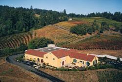Vista de la bodega y parte de los viñedos de Marimar Estate.